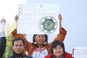 indegenous people make demanding their rights at the cop21